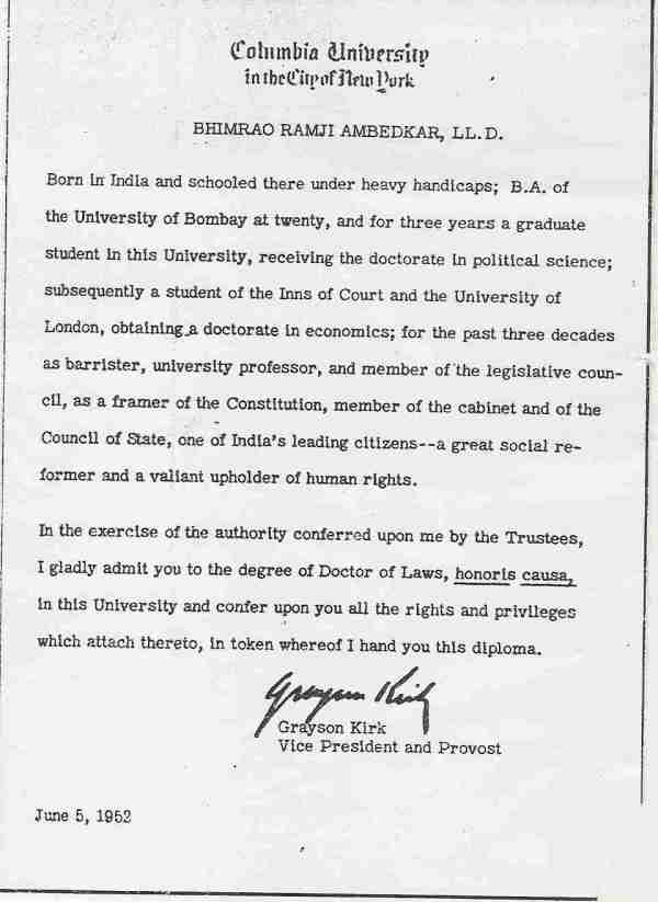 LL.D. Degree Certificate of Dr. B. R. Ambedkar from Columbia University
