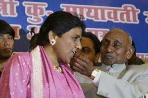 Mayawati with her father