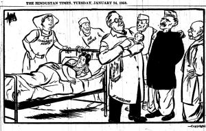 This Cartoon, which was published in the year 1950, on 24th January, that is two days before the first Indian Republic day, in The Hindustan Times, drawn by the famous Cartoonist Enver Ahmed . Cartoon showing Mother India giving birth to a baby called The Republic of India and DOCTOR Ambedkar holding that baby in his hands and giving a gentle touch, while the other characters in the background (from Left to Right ) Constituent Assembly congress Party as Nurse, t he people, Jawaharlal Nehru , Babu Rajendra Prasad and Vallabhai Patel all of them are looking at the newly born baby with great anxiety .