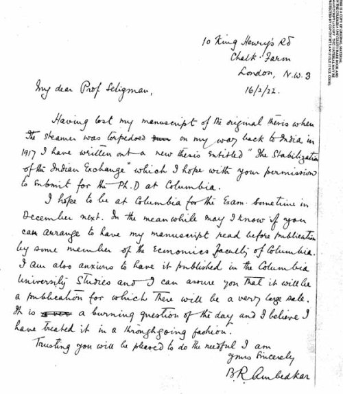 Dr. Ambedkar's rare letter to Prof. Seligman