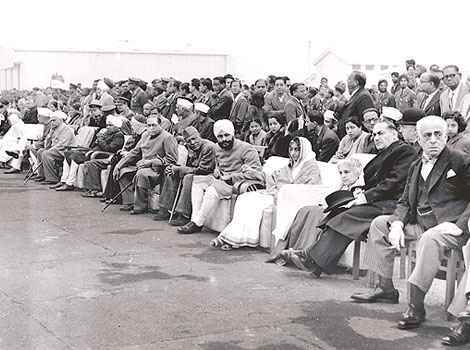 Dr. B. R. Ambedkar among other dignitaries at India's first Republic Day parade.
